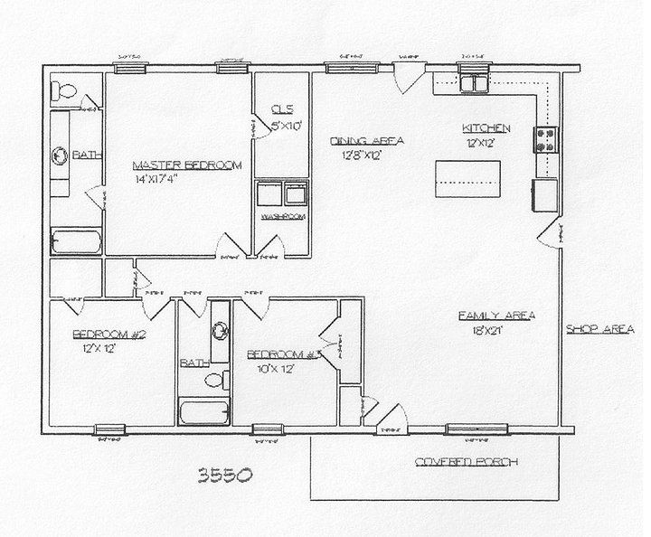 Take out Bed#3 to make open Dining area. Turn Bed#2 into storage/storm shelter. Add 2nd floor for remaining bedrooms.