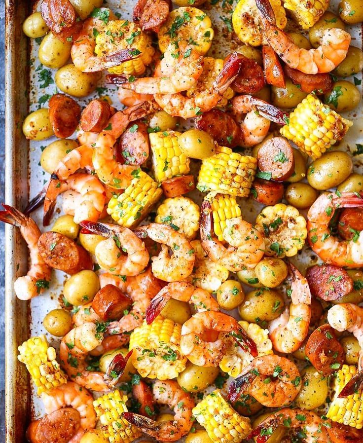 """15k Likes, 139 Comments - Healthy Fitness Recipes~Videos (@fithealthyrecipes) on Instagram: """"SHEET PAN SHRIMP BOIL By @damn_delicious ❤ @damn_delicious ~ 1 pound baby Dutch yellow potatoes 3…"""""""