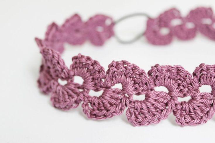 Faixas de cabelo - faixa de cabelo shell óptica, lilás, crochet - uma peça de designer da Miss botão na DaWanda
