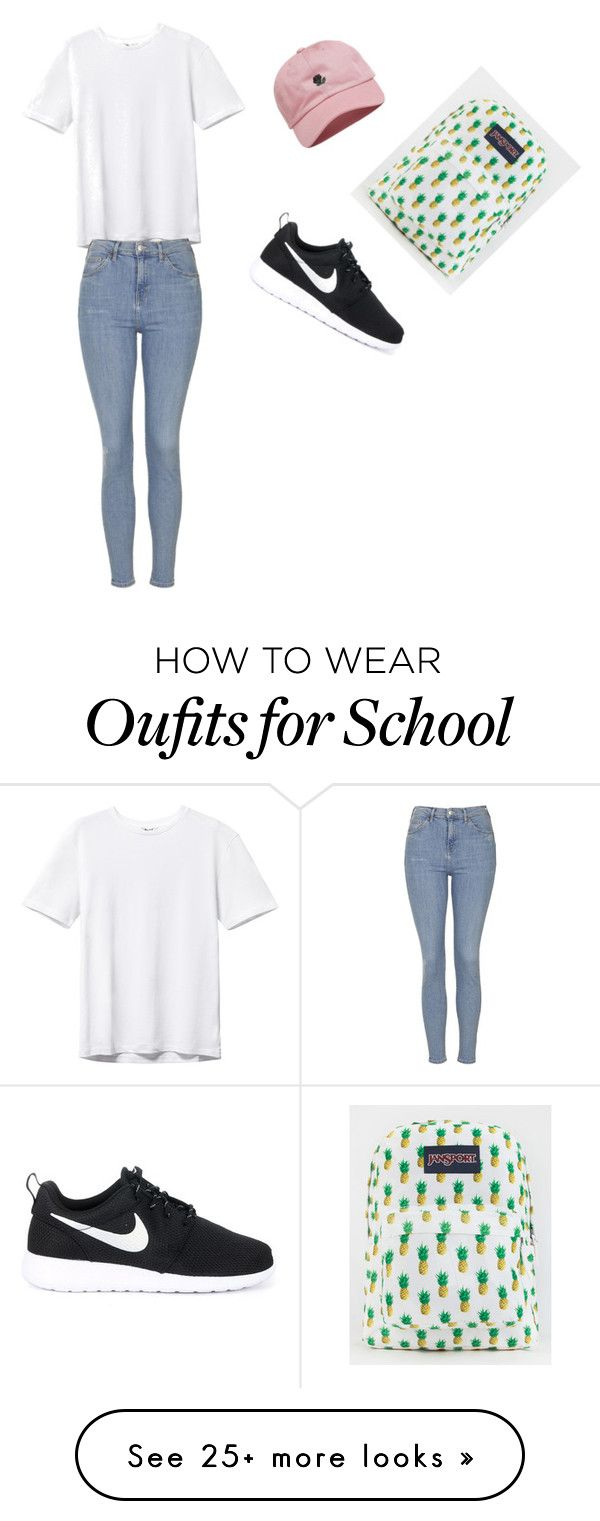 """School"" by oloferlaperla on Polyvore featuring Topshop, NIKE, The Hundreds and JanSport"