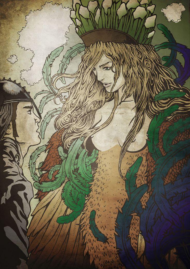 illustration color Alkonost by XXIIIdogma