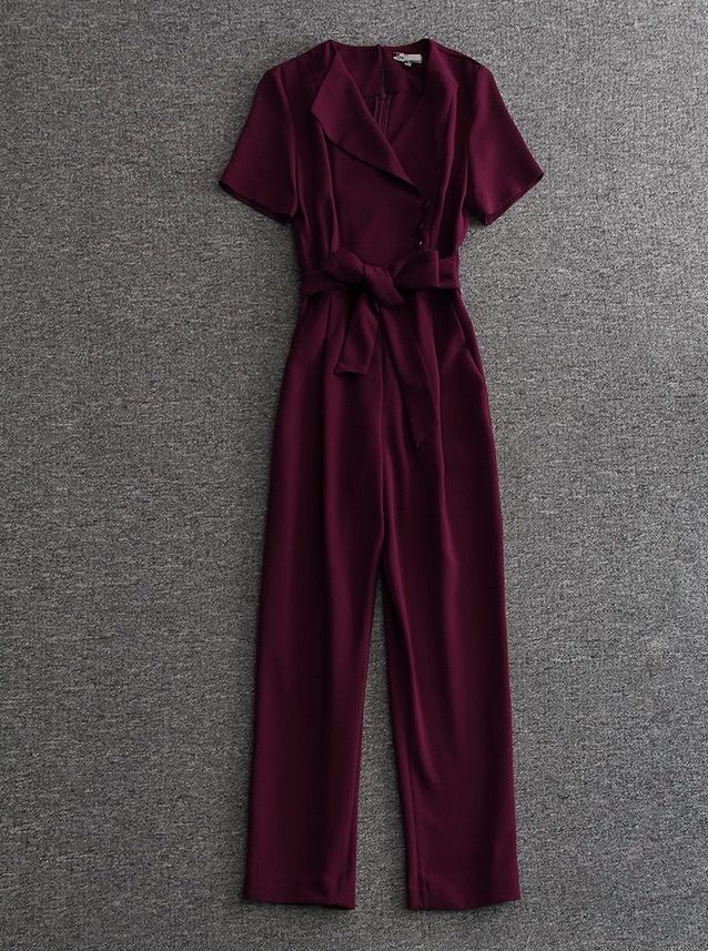 Top Grade New 2017 Runway Fashion Jumpsuits Women V-Neck Short Sleeve Belted Elegants Jumpuit Pants Ladies Rompers Bodysuits ** AliExpress Affiliate's buyable pin. Item can be found on www.aliexpress.com by clicking the VISIT button