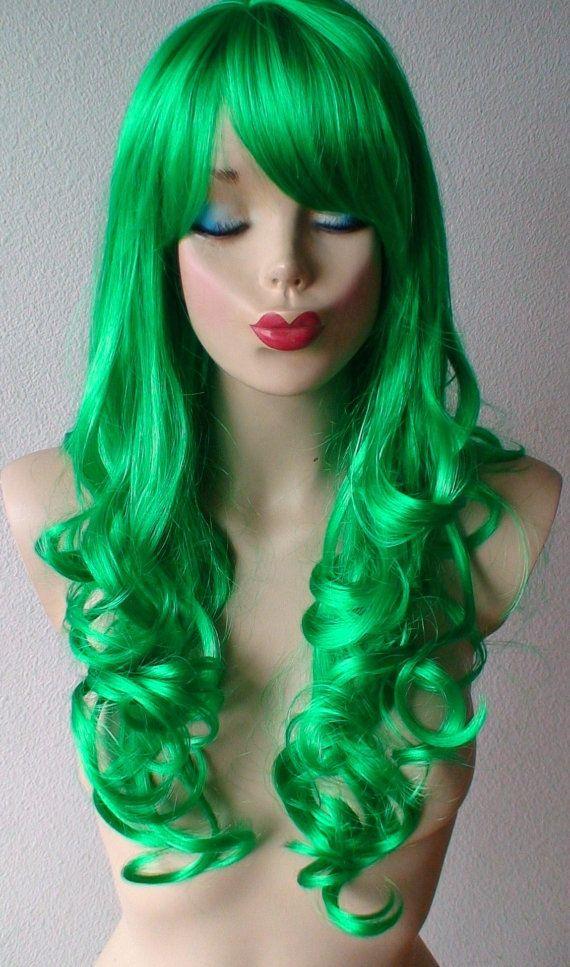 Halloween Special Green wig. Long Curly wig. Irish by kekeshop
