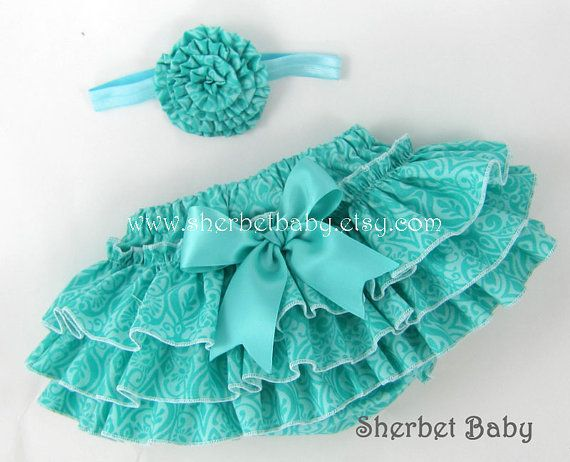 Headband plus Sassy Pants  Ruffle Diaper Cover by SherbetBaby