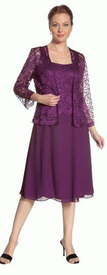 Short Plum Mother of Groom Dress Chiffon Knee Length Lace Jacket