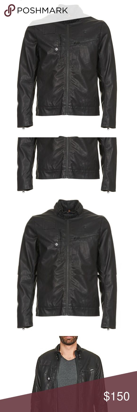 GStar Raw Black Biker Jacket Brand New $415  G Star Raw Hamzer Biker Black Jacket  Size XL  Trendsetters will love this magnificent jacket from G-Star Raw. Made of viscose (85%) and polyester (15%) , the black colour is a great touch. A great design that fans of beautiful leathers will love!  Information :Closure  Zip fastening  Composition:  Viscose : 85%  Polyester : 15% G Star Raw Jackets & Coats
