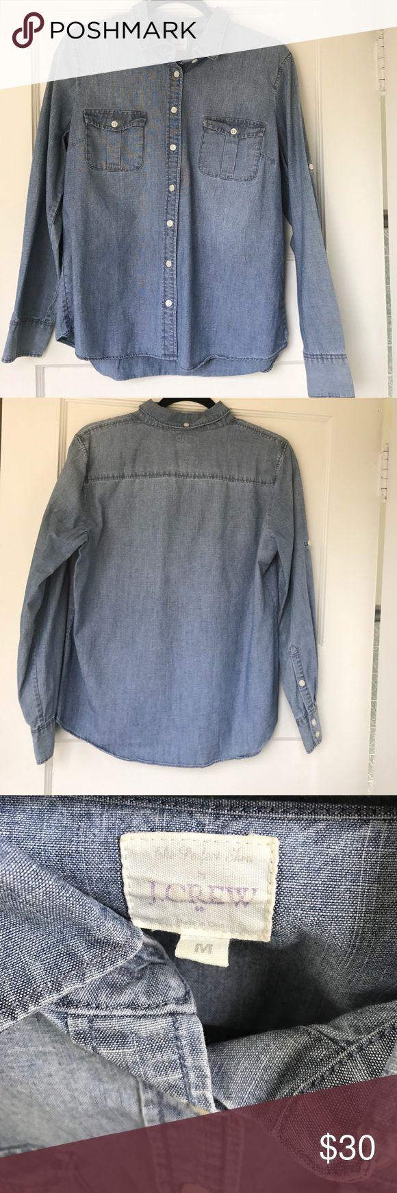 J. Crew Chambray Shirt Classic chambray shirt! Like brand new. Never worn! J. Crew Tops Button Down Shirts