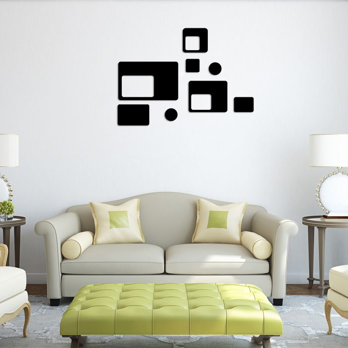 DIY Modern Wall Sticker Circles Square Acrylic Mirror Wall Stickers Poster Reflective Sticker Home Decoration Accessories YJ25