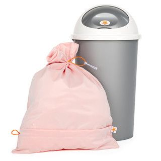Foxy Baby® diaper pail and big dirty diaper laundry bag. Wash used diapers together with the bag, self-emptying!