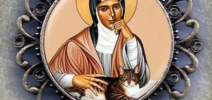 Meet St. Gertrude, the Patron Saint of Cats. by MarysPrayers, available on Etsy.