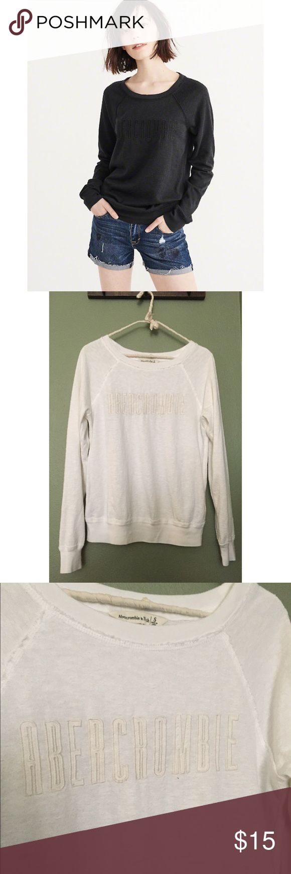 WHITE Abercrombie & Fitch logo crew sweater NWOT This is the white logo crew neck sweater from Abercrombie & Fitch. The model is wearing the same sweater but in black. Never been worn, in perfect condition! Abercrombie & Fitch Sweaters Crew & Scoop Necks