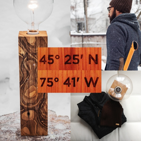 Capital City Capsule. Laser etched reclaimed wood lamp and leather elbow patch hoodie. $399