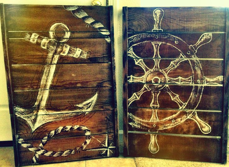 Wood burning and chalk art on a vintage grape tray= Christmas present for my parents nautical themed living room!