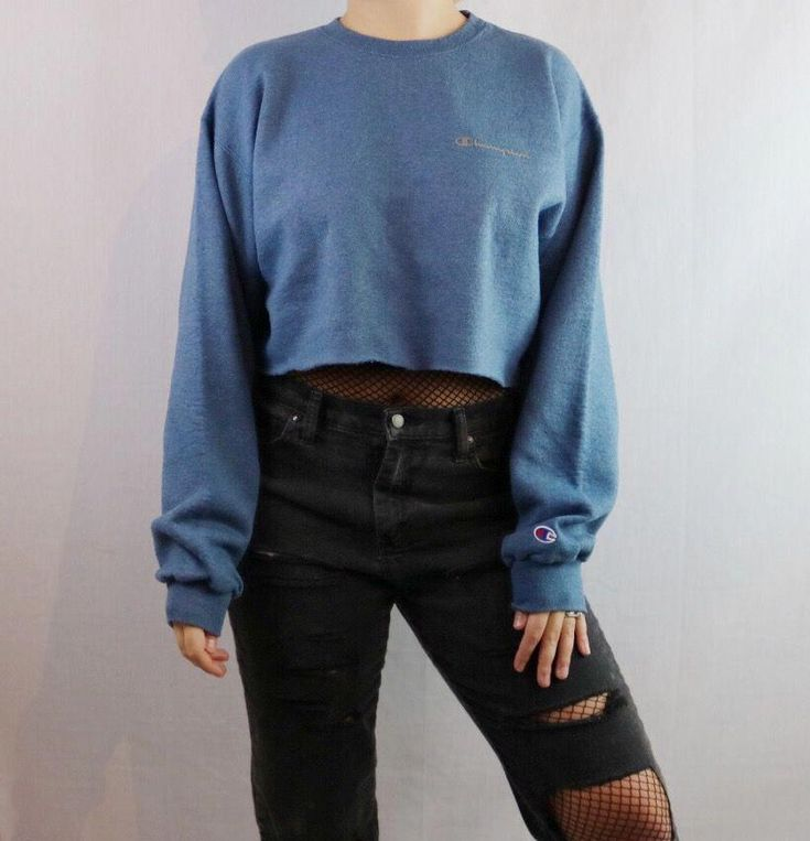 Custom Cropped Champion Pullover Sweatshirt. Distressed. Edgy. Grunge. Grungy 90s style. 1990s inspired. Streetwear. 2017 trend. Street style. Festiva...