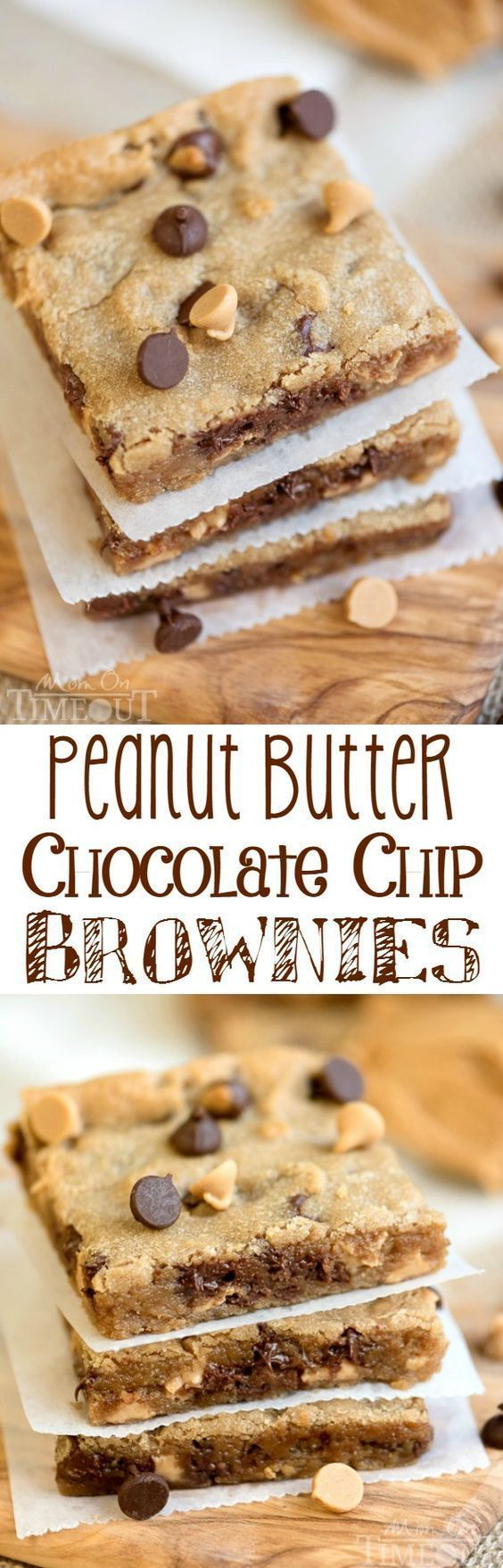 Perfectly moist, decadent, and fudgy, these sinful Peanut Butter Chocolate Chip Brownies will redefine your love for peanut butter. The perfect easy dessert recipe for peanut butter and chocolate lovers!| http://MomOnTimeout.com