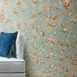 Victorian vintage gold scroll trail leaf navy green floral for Inexpensive wallpaper