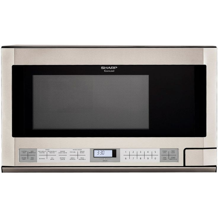Sharp R1214T Over the Counter Microwave Oven 1100 Cooking Watts Stainless Steel
