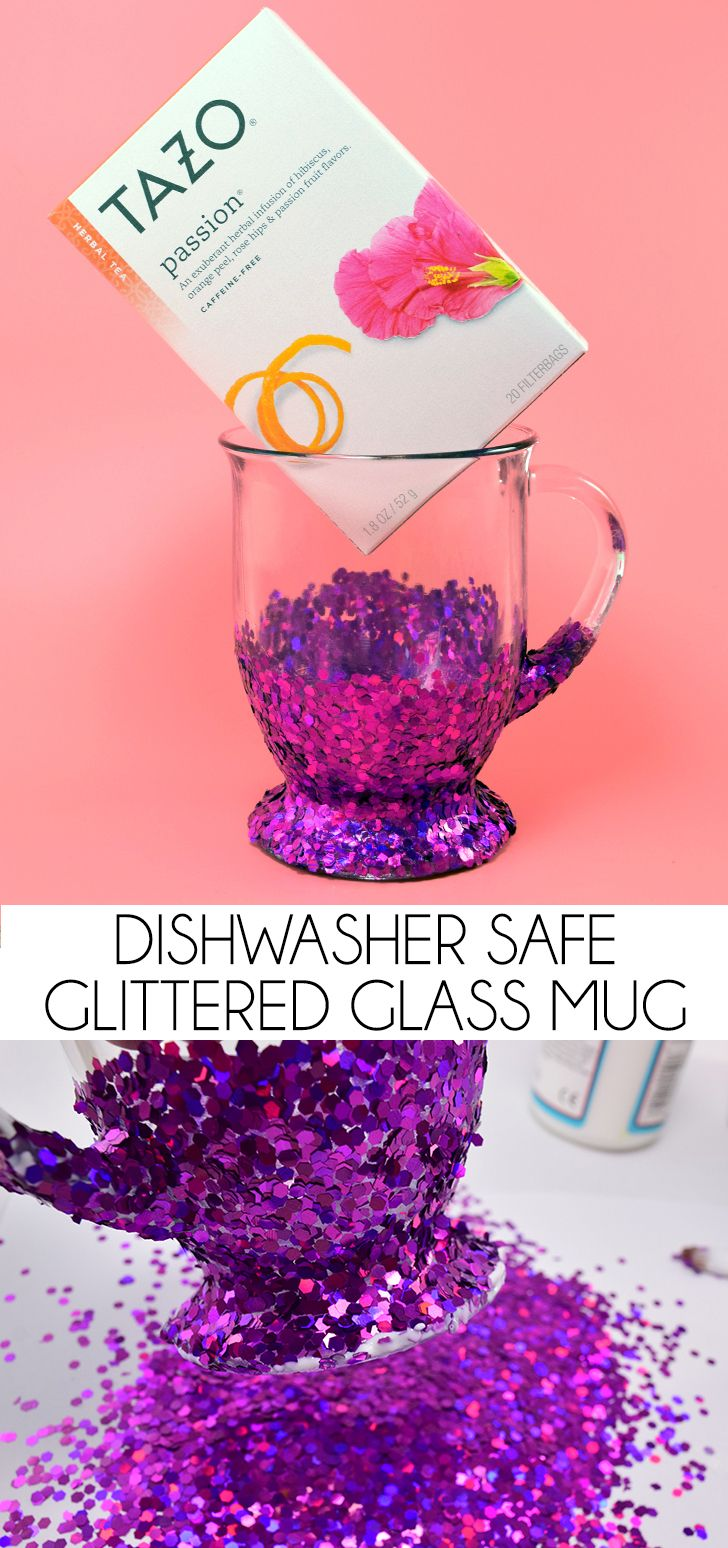 This glittered glass mug is is the perfect amount of dishwasher safe glitter…