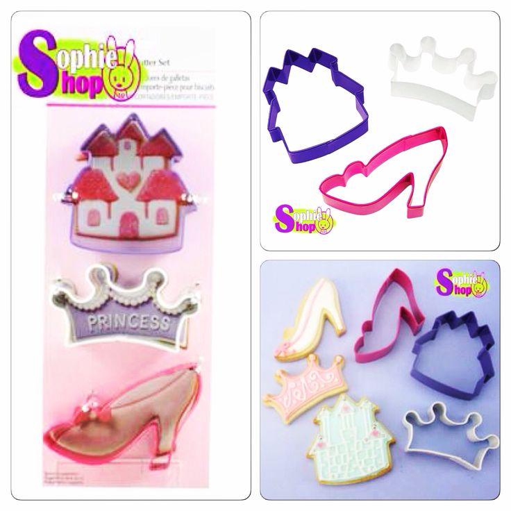 Cortadores para galletas y Fondant 3pcs  Modelo princesa  www.sophieshop.cl