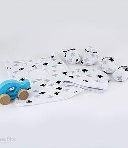 Polar Bear Collection - Swiss Cross print newborn layette baby gift set from Bubba Blue