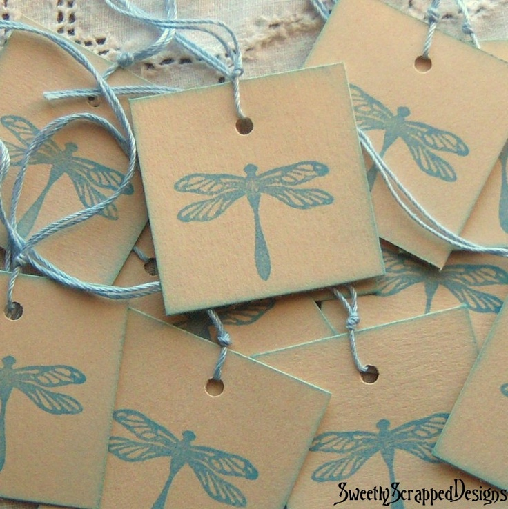 Stamped Dragonfly Hang Tags with Blue Pastel by SweetlyScrappedArt