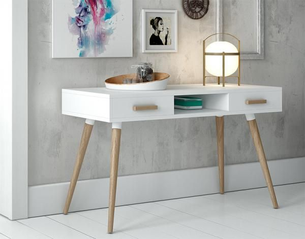 Contemporary White Desk With Oak Legs And 2 Drawers