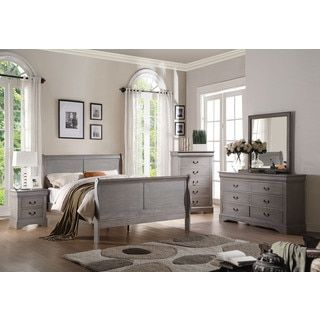 Acme Furniture Louis Philippe Iii 4 Piece Antique Grey Bedroom Set
