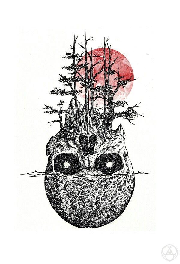 Skull blood moon tattoo