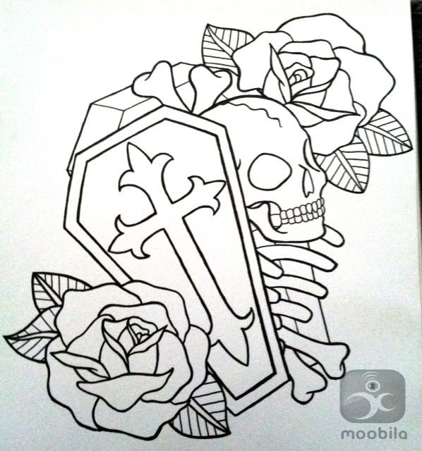 Tattoo Designs Skull Heart Coffin And Roses Outline