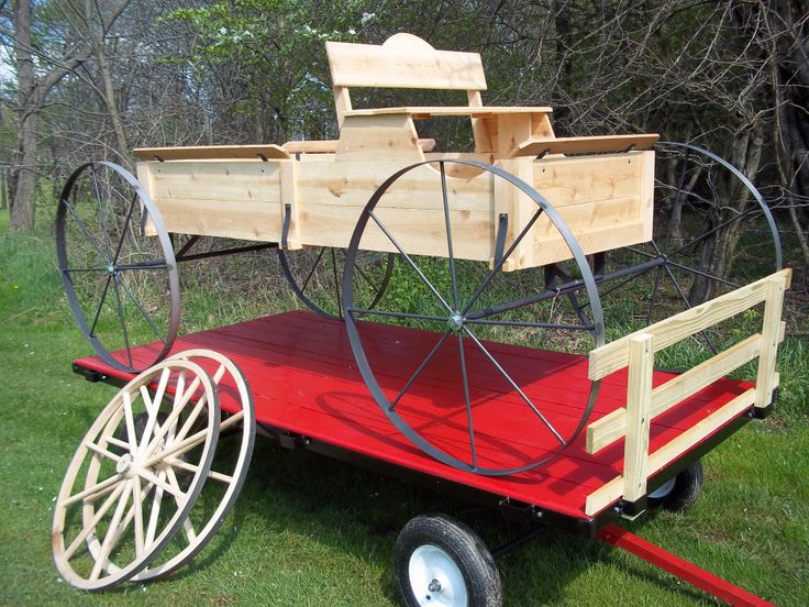 8' Cedar Buckboard on a Mini 8' Hay Wagon by www,wmconstr.us