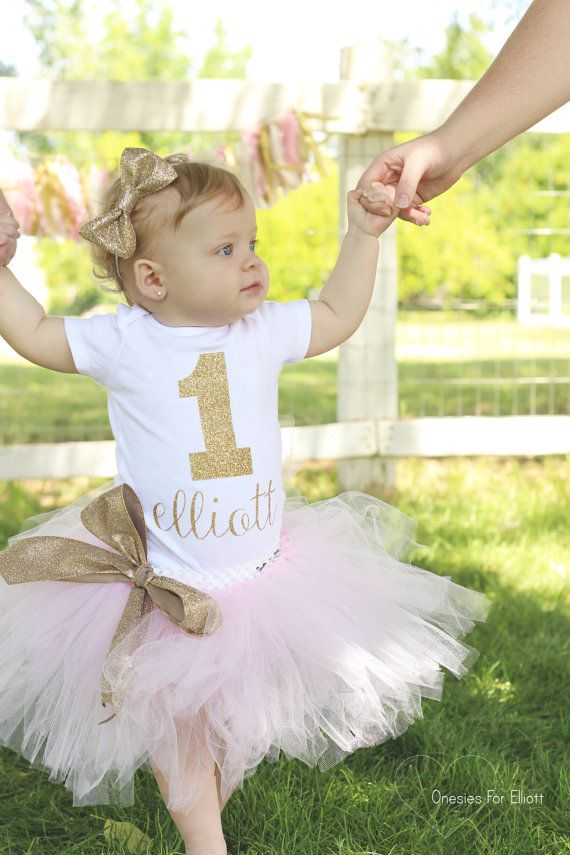 Baby Girl Gold and Pink Customized First Birthday Glitter Appliqué Onesie Outfit With Matching Tutu & Bow