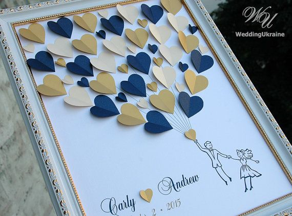 Custom Wedding Guest Book Alternative  Navy and by WeddingUkraine