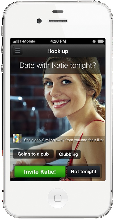 Tonight! is an iPhone application that enables people to have a real date instantly and anonymously. No registration needed, no profiles, no hopeless winks, likes and cold chats. Get to know only the people who want to meet you here and now.     Go to TonightApp.com and sign up to our launch list!