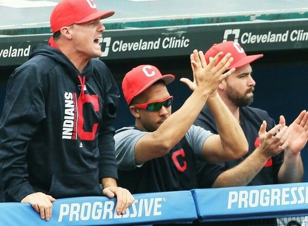 Cleveland Indians Jay Bruce, Michael Brantley and Boone Logan celebrate Francisco Lindor's 2 run homer in the 2nd inning against the Kansas City Royals at Progressive Field, Cleveland, Ohio, on August 27, 2017. This put the Indians up 5-0. (Chuck Crow/The Plain Dealer). Indians won 12-0