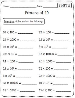 Common Core Math Worksheets (5th Grade Edition) at Create●Teach●Share