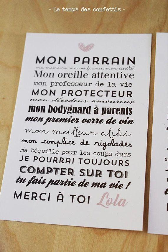 Carte Personnalisable Remerciements Pour Parrain Et Marraine