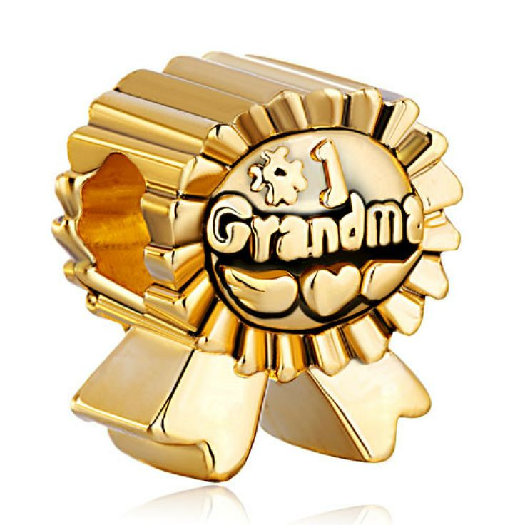 22K Golden Plated Medal Number Grandma European Love Charm Beads Pandora Chamilia Compatible | Charmsstory.com #grandma #pandora #charms #medal #numberone #chamilia