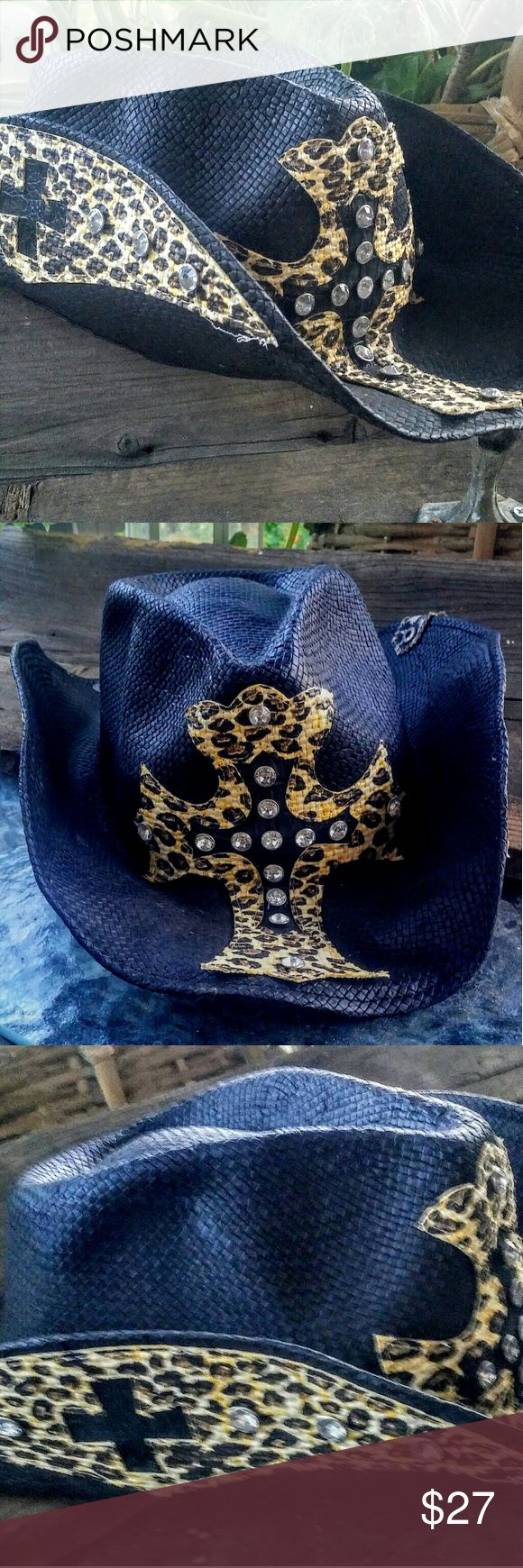 Black Straw Bling Cross Peter Grimm Cowboy Hat Urban Cowgirl Black Leopard Rhinestone Cross Original Peter Grimm Western Cowboy Hat, Secret inside pocket, fully lined...Previously owned in good condition, one size fits all Peter Grimm Accessories Hats