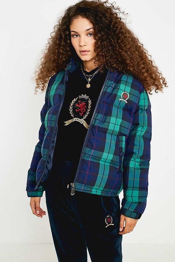 0fb085723cf15 Tommy Jeans Crest Collection Plaid Puffer Jacket | Tommy | Puffer ...