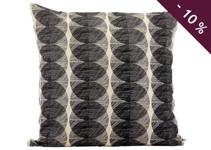 Housse de coussin 50 x 50 cm carré - Noir et blanc - cercle - 100% coton - House doctor