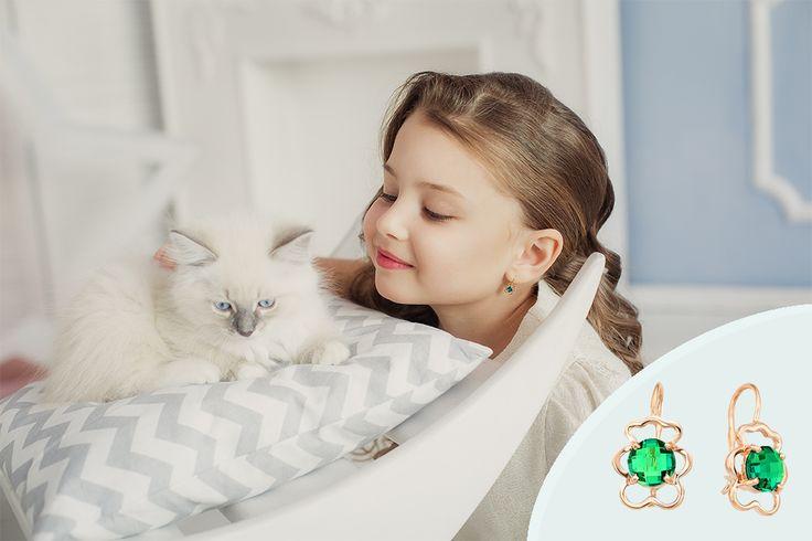 Изумительные детские серьги MAGIC STONES для вашей маленькой принцессы✨🌸💚 арт 09-1-006-14 вес 1,34 гр.