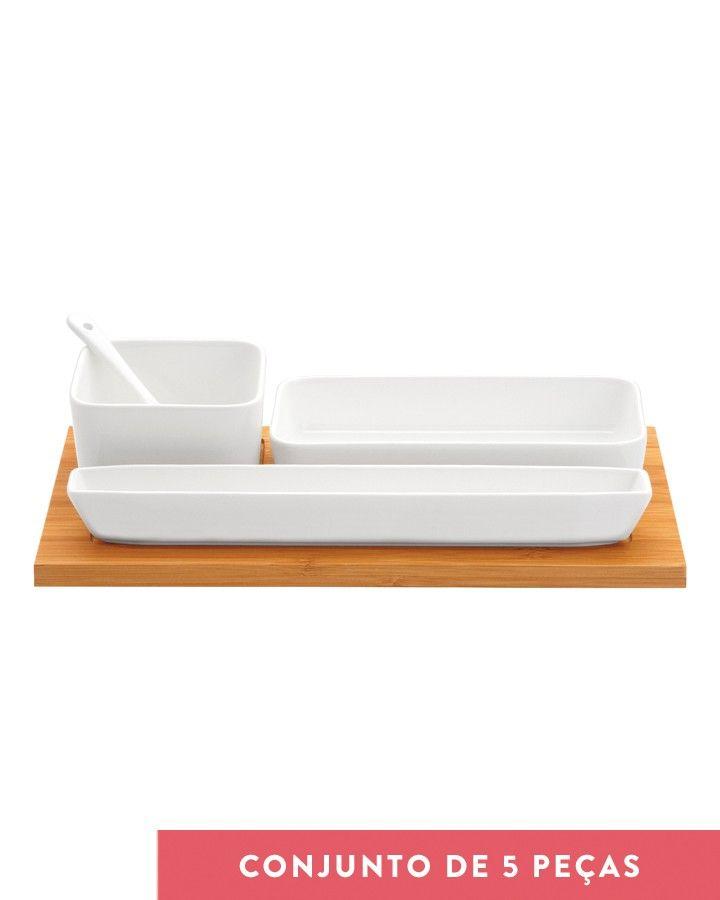 Petisqueira Iii Branco Porcelana E Bambu Kitchen Stuff