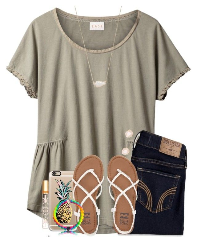 """""""what is done in love is done well """" by tessbartoszek ❤ liked on Polyvore featuring EAST, Hollister Co., Kendra Scott, Casetify, Billabong and Tory Burch"""