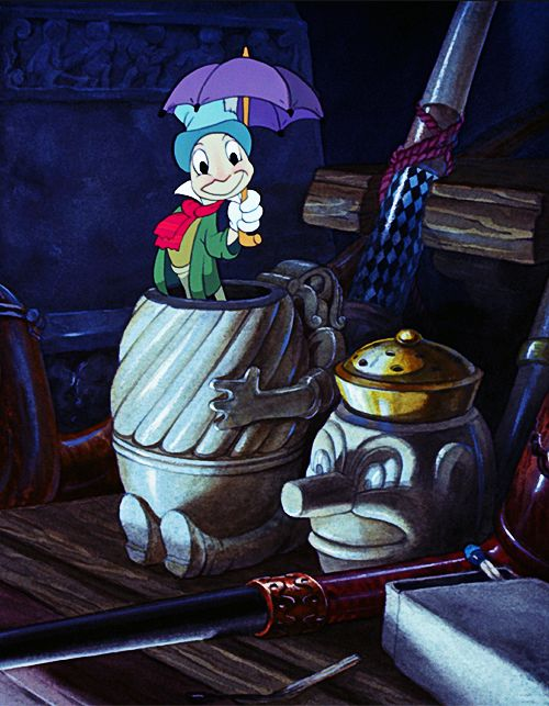 Jiminy Cricket from Pinocchio. Traditional animation at its best. The detail is amazing. When you watch it take the time to marvel at the detail that went into all aspects of this masterpiece. From the clocks in the work shop to the waves when Monstro attacks. Stunning!