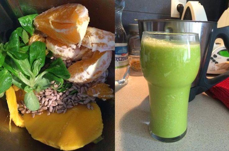 Zielone koktajle: roszponka + mango + pomarańcza + limonka + słonecznik