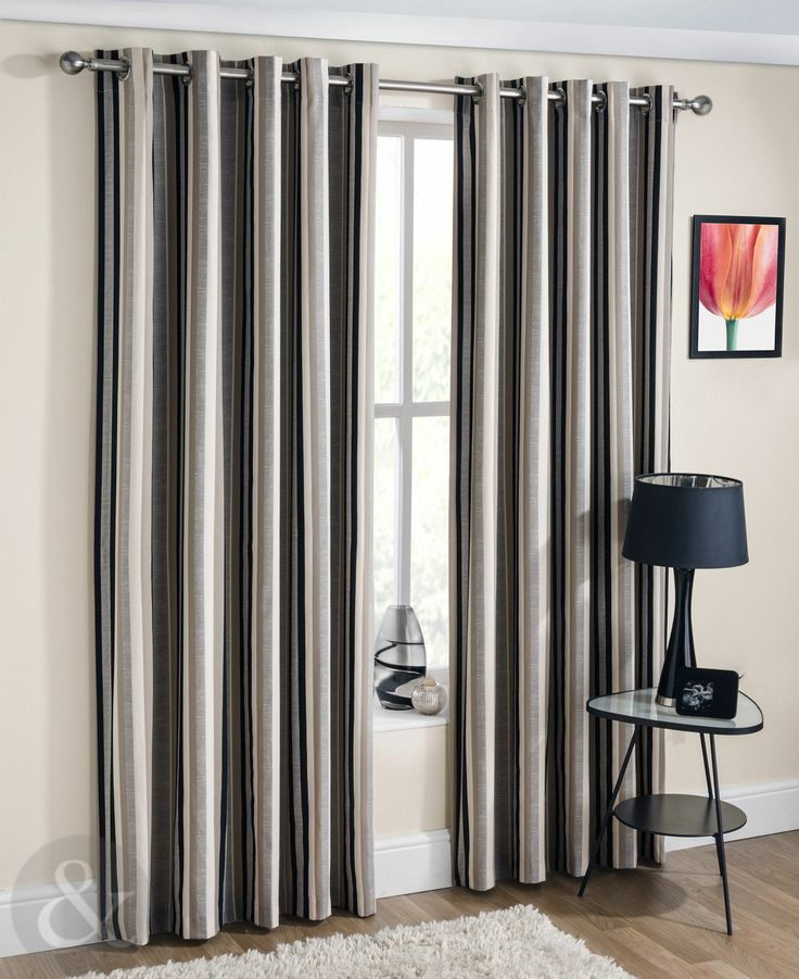 Striped Eyelet Curtains   Lined Silver Grey Black U0026 Beige Cream Cotton  Curtain  Grey Striped Curtains