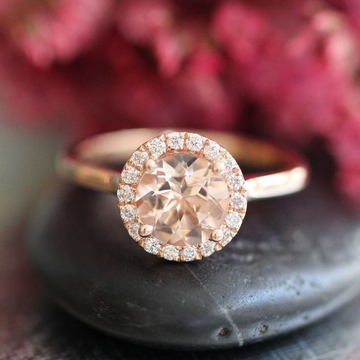 Rose Gold Morganite Ring Diamond Halo Engagement In Pink Peach Morganie Wedding Bridal Set Available