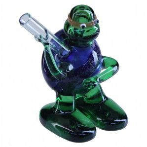Ninja Turtle Pipe - Green and Blue Glass Hand Pipe - TMNT