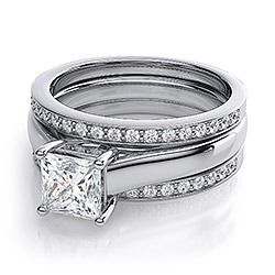 double wedding bands on solitaire ring pics please wedding ringset - Double Band Wedding Ring