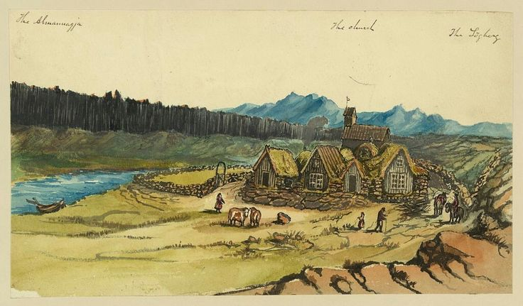 """Title:The Almannagjá the church the L""""ghergCreator(s):Taylor, Bayard, 1825-1878, artistDate Created/Published:[1862]Medium:1 drawing : ink brush and watercolor over graphite underdrawing.Summary:Drawing shows a small village and church near the Almannagjá or Almanna Gorge in Iceland. Almanna Gorge was where Iceland's Althing or Parliment traditionally met. Taylor visited Iceland in 1862, perhaps en route to Russia"""